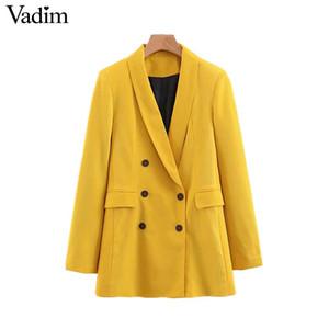 femmes Vadim chics poches blazer jaune double boutonnage à manches longues manteau solide bureau vêtements femme en tête vêtements casual CA365 Livraison gratuite