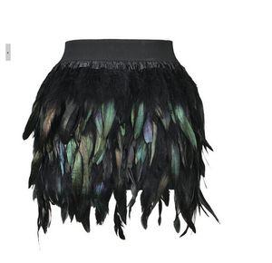 New Mulheres Feather Sexy Mini Saia cintura elástica High Street Gradiente partido da pena colorida saia verde roxo S M L XL