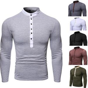 2019 Мужские футболки Мужские Хенли Кнопка рубашка с длинным рукавом стильный тонкий Fit TeeTops Повседневная футболка Мужчины Outwears Мода Дизайн одежды New