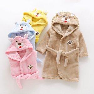 Autumn Winter Children's Flannel Sleepwear Lovely Cartoon Animals Robe Hooded Warm Bathrobe Kids Pajamas For Boys & Girls Robes