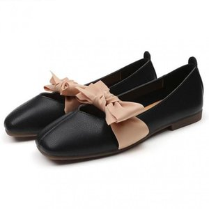 35~42 Large Moccasins Women Bow Flats Genuine Leather Loafers Soft Ballet Shoes Slip On Lady Ballerina Shoe Flat Causal Footwear