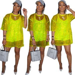 Mesh Sheer Sequin T Shirt Dress Women O-neck Short Sleeve Loose Casual Summer Dresses Beach Wear Night Party Mini Club Dress T200707