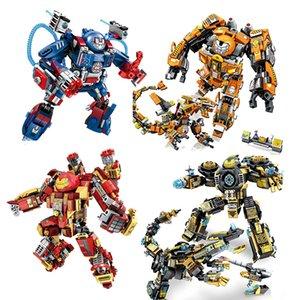 Marvel Avengers Iron Man Building Blocks Hulk Buster Mech Robot Цифра Technic City Кирпичи Дети образовательных игрушки Рождественских подарки Действие