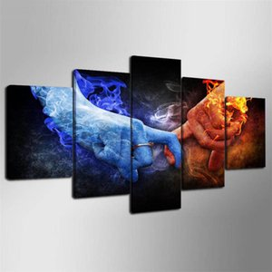 Love Hand Ice Flame,5 Pieces HD Canvas Printing New Home Decoration Art Painting (Unframed Framed)