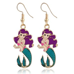 New European and American style small fresh color Mermaid Earrings fashionable animal cute oil Earrings