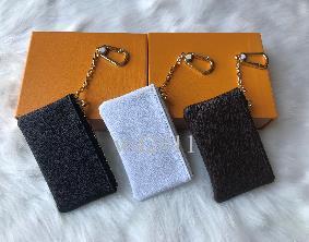 alta calidad con el color de piel caja 4 bolsa de la llave Damier sostiene mujeres famosas de diseño clásico bolso de la llave del monedero titular de pequeños artículos de cuero