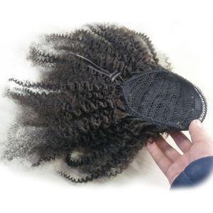Ali Hair Mongolian Ponytail Extensions Afro Kinky Curly Magic Remy 4C Human Drawstring Hair Extensions Ponytails 4B 클립 Qoliq
