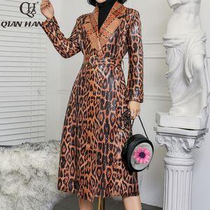 Qian Han Zi 2019 Casual casaco de leopardo trincheira de Mulheres oversize couro Cobra Vintage Lavados Outwear Belt magro Roupa LY191216