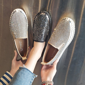 واحدة الأحذية أزياء النساء الأحذية القماشية الفتاة عارضة كعب مسطح سكيت أحذية رياضية منصة متعطل الانزلاق على حرية الملاحة البراقة