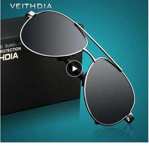 Veithdia erkek güneş gözlüğü marka tasarımcısı pilot polarize erkek güneş gözlükleri erkekler için gözlük gafas óculos de sol masculino 1306