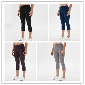 2020 aptidão das mulheres calças de treino Leggings Lu-5 Gym calças justas barriga de Controle de Yoga calças cintura alta Leggings bolso para Mulheres
