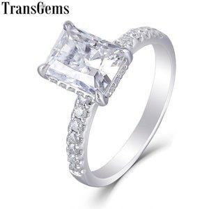 Transgems 14K Белое Золото 1.8ct 6X8mm F Цвет Radiant Cut Муассанит обручальное кольцо Под Halo Боковой камень кольцо для женщин
