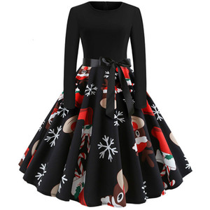 Winter Christmas Dresses Women Vintage Robe Swing Pinup Elegant Party Dress Long Sleeve Casual Plus Size Print Black