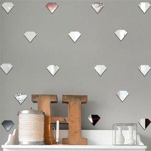 50Pcs Nordic Diamond Mirror Wall Stickers For Kids Room Acrylic Mirrored Decorative Sticker Nursery Mirror Wall Decals