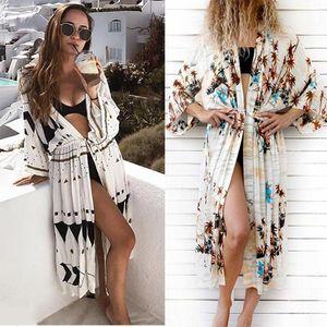 Pamuk Baskı Plaj Cover Up Women Yaz Kimono Uzun Hırka Lady Plaj Elbise Mayo Tatil Gevşek Dış Giyim Maxi Boho Beachwea