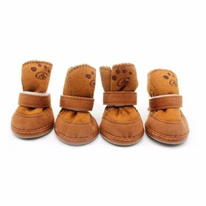 4pcs Dogs Snow Boots Soft Cozy Cashmere Walking Running Paws Dog Shoes Anti-skid Comfortable Puppy Pets Supplies Drop Shipping