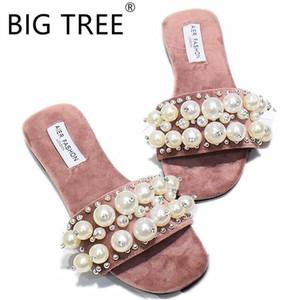 New Women Pearl Beach Shoes Flat Woman Sandals Summer 2020 Woman Shoes Lady Fashion Slippers Luxury Shoe Women Designers Slipper