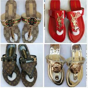31Color Mode Femmes Sandsals 2020 Summer Brand New Femmes Chaussures Slides talon plat femme Floral plage des pantoufles 888 Livraison