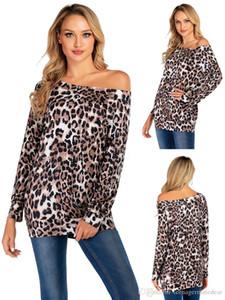 Diseñador para mujer T Shirts Leopard y tela escocesa Impreso ocasional otoño atractivo largo envueltos de un hombro T Shirts Moda Mujeres Tees