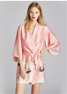 Spring Womens Designer Sleepwear Mural Printed Three Quarter Sleeve V Neck Robes Casual Female Underwear Summer