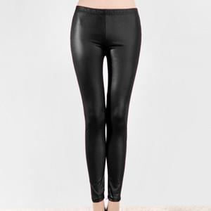 Leggings a vita alta in PVC in PVC brillante Leggings Skinny Leggings Tight Matita Pant Black