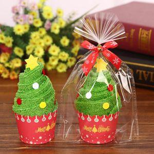 Nouvelle arrivée 30x30cm cadeau de Noël Serviette Sapin de Noël Père Noël Bonhomme de neige blanc vert goutte rouge shippping