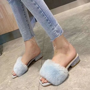 Leadcat Fenty Rihanna Rabbit's hair Slippers Women Girls Sandals Fashion Scuffs Brown Pink Blue Slides High Quality With Box