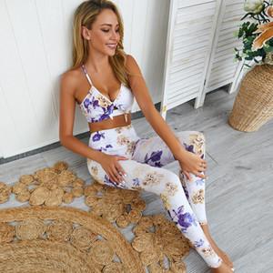 GXQIL Imprimir Jogging Femme Mulher Sportswear Gym Roupa seco Fit Set Yoga 2019 roupa do exercício respirável para Mulheres Legging Bra M