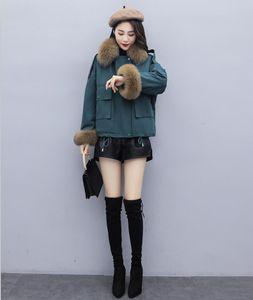 Rivestimento delle donne delle signore di inverno reale Raccoon Fur Collar anatra giù all'interno cappotto caldo Femme con tutti i tag nuovo arriva