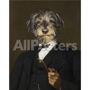 Handgemalte haustierporträts kunst-ölgemälde Thierry Poncelet Cairn Terrier mit einem Pipe Room Wanddekor