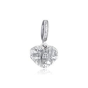Yeni% 100 Gerçek 925 Gümüş Home Sweet Kalp Dangle Charm Boncuk Fit Kadınlar Charms Bilezik DIY Boncuk Takı Yapımı için
