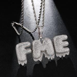 US7 Iced BLING CZ lettres goutte à goutte Collier personnalisé Lettre Bulle Pavée Micro Pendentif Collier pour les hommes Hip Hop Bijoux