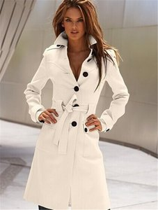 Winter Womens Designer Solid Blends Fashion Ladies Lapel Neck Outerwear OL Womens Long Coat with Sashes