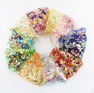 El oro subió de colores transparentes paquetes con cordón bolsa bolsita de organza Bolsa de regalos para los granos banquete de boda de embalaje de la joyería