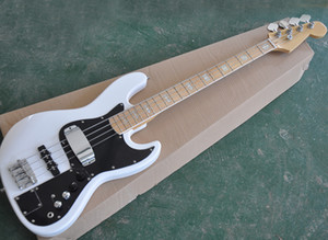 White 4 Strings Electric Jazz Bass with Pickups Cover,Black Pickguard,White Pearled Block Inlay,Can be Customized As Request