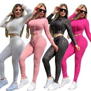 2020 Fashion solides manches longues Skinny à capuchon 2pcs Crop Womens Designer Survêtements Dorure Réinitialiser impression Femmes