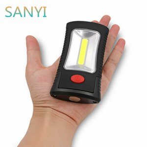 Sanyi Multifunctional Portable Cob Led Magnetic Folding Hook Work Light Flashlight Lanterna Lamp Use 3x Aaa Battery