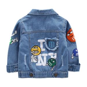 Детская куртка Джинсовая для мальчиков с разбитым отверстием Жан Куртки Девочки Детская одежда детское пальто Повседневная верхняя одежда 2019 весна осень