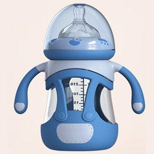 240ML Glass Baby Bottle Silicone Fully Automatic Feeding and Care Baby Feeding Bottle Newborn Baby Bottles T200603