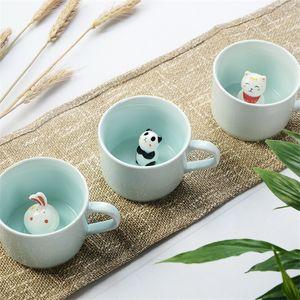 Kreative Karikatur-Keramik-Tassen Niedliche Tier Kaffee-Milch-Tee-Schale 220ml Neuheit Geburtstags-Geschenk-Becher New Promotion