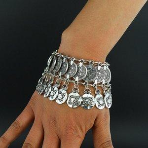 Wholesale- New alloy Vintage Bohemian Bracelets bangle Gypsy Ethnic multilayer female fashion Silver plated bracelet for women fine jewelry