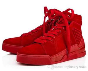 [Top Hediye] Erkek Ayakkabı Taban Sneaker Loubikick Düz İyi Kalite Gerçek Deri Spiked Ayakkabı Orta Spor Ayakkabı Düz Paten Açık Trainer kırmızı