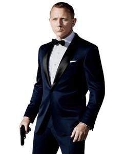 Сшитые на заказ темно-синие смокинги для жениха, вдохновленные костюмом, который носил Джеймс Бонд Свадебный костюм для мужчин Groomsmen Slim Fit Suit (куртка + брюки + лук)
