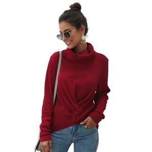 SKTSUUC nouveau chandail pour les femmes 2019 solides Pull à col roulé Femmes manches longues pull en tricot d'hiver Femme Femmes