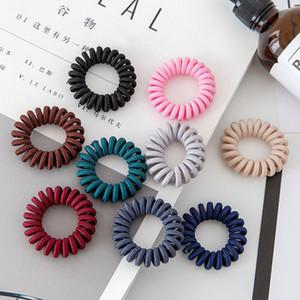8 colores de la tela del alambre de teléfono Cinta de cabeza envuelta Cable flexible de tela Diseño Ponytail de la línea elástico del lazo del pelo del pelo de los accesorios M1252