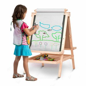 All In One Kids Wooden Art Easel Double Sided with Paper Roll Accessories Tray New
