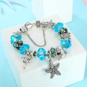 Новый шарм дельфинские морские звезды кулон браслет браслет для посеребренного DIY из бисера леди элегантный браслет для женщин подарок DIY ювелирные аксессуары