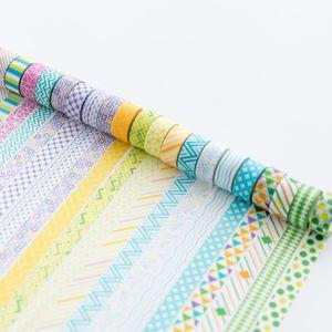 2016 201624 шт основной цвет украшения Васи ленты Набор 10 мм мини клейкие ленты наклейки скрапбукинг альбом канцелярские A6012 T190618