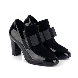 Kadınlar Bow Kare Toe Siyah Rugan Chunky Topuklar Kalın Topuk Ayak bileği Boots Patik Rugan Ayakkabı Pompalar Y200702