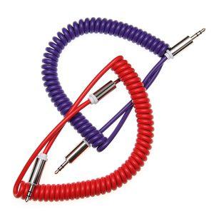 1m 3ft câble audio mâle à mâle Extension Spring Aux Cord Pour Samsung Huawei téléphones MP3 / 4 Haut-parleur